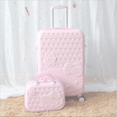 2pcs 14inch Cosmetic bag HelloKitty trolley case Travel luggage rolling suitcase