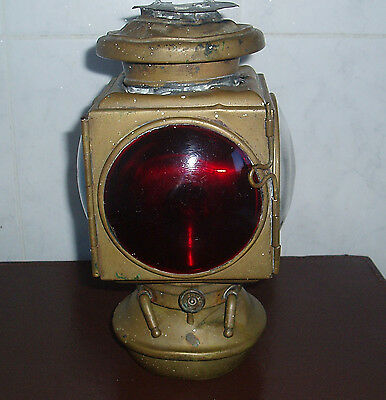 American Railways Kerosene Oil Lamp Red Green And Clear Convex Windows Detroit