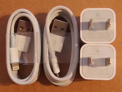 2x Apple Charger Wall AC Plug usb Lightning Cable iPod iPhone 7 6s 6 Plus 5S OEM