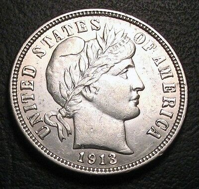 Old Us Coins Choice Silver 1913 Bu Unc Highgrade Stunning Barber Dime Beauty
