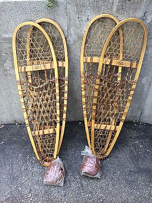 """Two Pairs Unused Vintage Faber Canada 36"""" x 10"""" Wooden Snowshoes"""