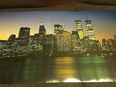 1987 New York Night Skyline Scandecor Door Poster 6 ft Original Plastic Seal!