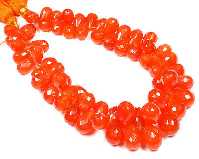 PH-086 Carnelian Side Drill Drop Faceted Gems Beads 6x9mm-8.5x13.5mm 239Ct 8.5""
