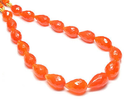 PH-087 Carnelian Straight Drill Drop Faceted Beads 7.5x10mm-9x13.5mm 88Ct 8.5""