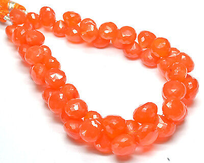"""PH-088 AAA+ Carnelian Onion Faceted Gemstone Beads 8mm-10.5mm 230Ct 8.5"""" Strand"""