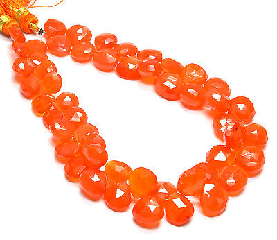 "PH-089 Natural Carnelian Heart Faceted Gemstone Beads 8mm-10mm 132Ct 8.5"" Strand"