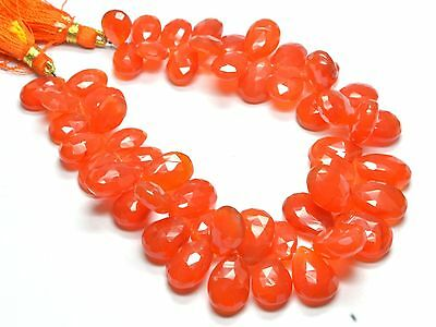 "PH-090 Carnelian Pear Faceted Gemstone Beads 8.5x11.5mm-11x16mm 285Ct 8"" Strand"