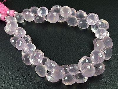 """PH-097 Natural Rose Quartz Onion Gemstone Faceted Beads 9.5mm-12mm 292Cts 8"""" Str"""