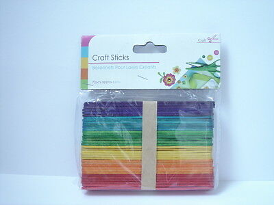 Brand New & Sealed Pack x 72 Colour LollyPop Craft & Model Sticks  **Free P&P**
