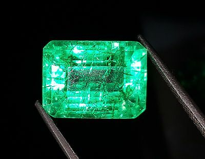 Incredible 16.04 Ct Emerald Shape Certified Natural Colombian Emerald  Gemstone