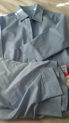 Marks and spencer M&S blue girls school shirts blouses 3/4 sleeve age 16
