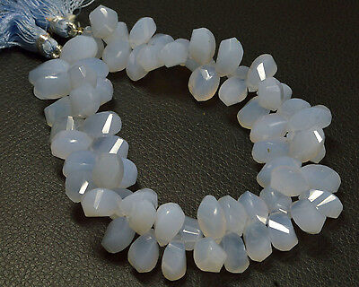 """PH-113 Chalcedony Twisted Drops Faceted Beads 6x12.5mm-6.5x11.5mm 256Ct 8.5"""" $"""