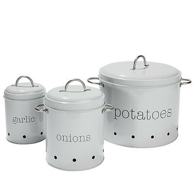 Set of 3 Vegetable Canisters Garlic Onions Potatoes Tin Storage Pantry Container
