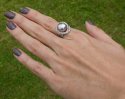 Noble Jewel Freshwater Pearl 10-11mm Sizable 925 Sterling Silver Ring
