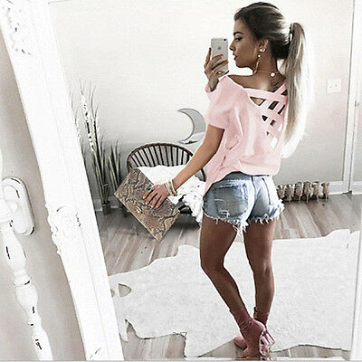UK Womens Loose Short Sleeve Top Ladies Casual Summer Tops T-Shirt Blouse 6-8