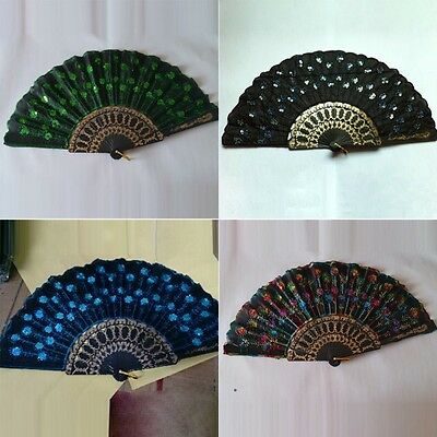 AU Folding Hand Held Fan Sequins Peacock Embroidered Fabric Wedding Party Decor