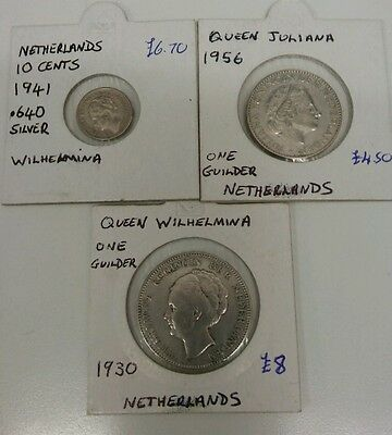 3 Silver Netherlands coins