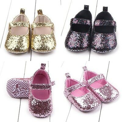 Toddler Baby Girl Bling Princess Crib Shoes Newborn Soft Sole Solid Prewalker