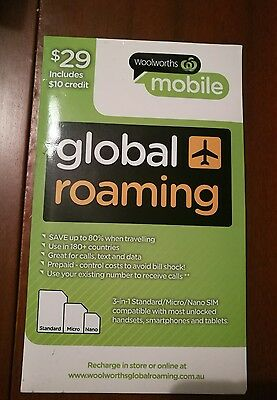 woolworths mobile global roaming sim $10 credit included  and receive sms free