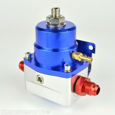 AN6 (JIC -6) 7 Bar Adjustable Fuel Pressure Regulator Blue With 6AN Fittings