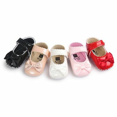 Toddler Baby Kid Soft Sole Bowknot Crib Shoes Girl PU Leather Princess PreWalker