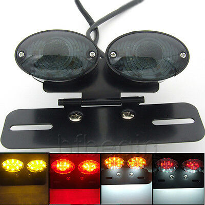 Black Rear LED Motorcycle Tail Turn Signal Brake License Plate Integrated Light