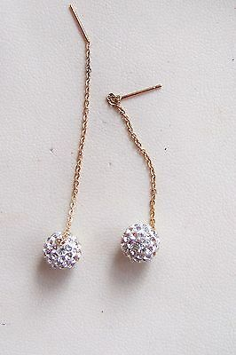 9Ct 9 Carat Yellow Gold Pull Through Threader Crystal Earrings  New