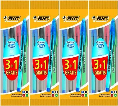 Pack 12 BIC Cristal GEL Ballpoint Pens BLACK, BLUE, GREEN, RED Medium
