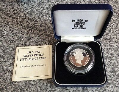 Royal Mint 1992 - 1993 UK Silver Proof Fifty Pence Coin