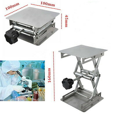 "4"" x 4"" 100mm Stainless Steel Lab Stand Lifting Platform Laboratory Tool GH"