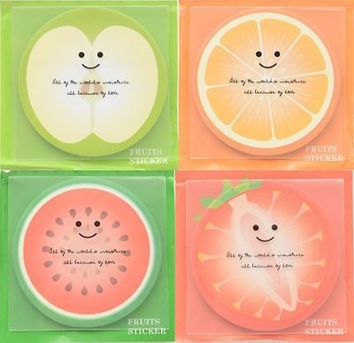 Cute Note Paper FRUITS Memo Pad Post it Stationery (4 types x1 pad = 4 pads)