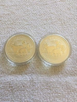 1oz Year of the Goat 999 Silver coins x 2