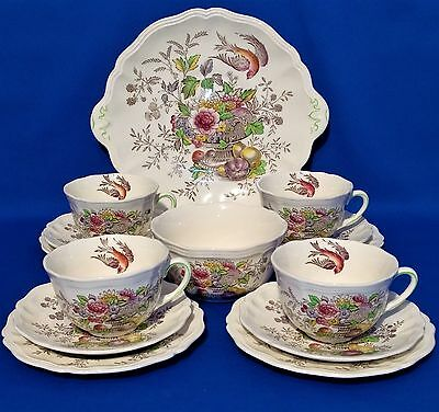 1940s ROYAL DOULTON Hampshire AFTERNOON TEA FOR 4 - Cups, Saucers, Plates 14 Pce