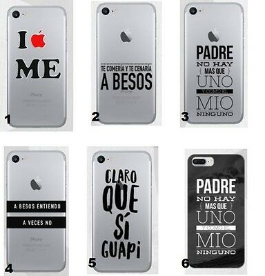 TPU Gel Silicona Carcasa Funda Apple iPhone 5 6 7+ Plus  FRASES DIBUJOS