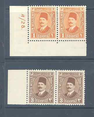 Egypt 1927 King Faud Pairs Very Fine Mint
