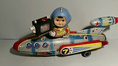 """TELEVIBOAT  ME 777 Space Tin Toy Battery operated Vintage 1968"""" China"""