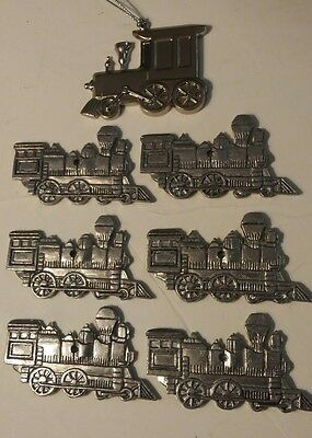 Lot of 7 Silver Train Engine Christmas Tree Ornaments
