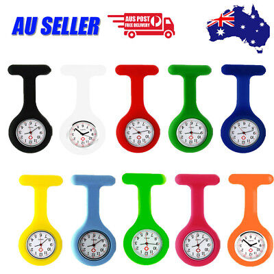 Silicone Nurse Watch Nursing Pendant Brooch Tunic Fob Clip Pocket Quartz Battery