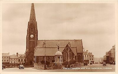 BR61662 parish church  and war memorial car  real photo lurgan Northern Ireland