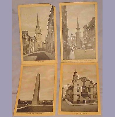 """4 VINTAGE SINGER SEWING SOUVENIRS Of BOSTON TRADE CARDS/4.5"""" x 7.5"""""""