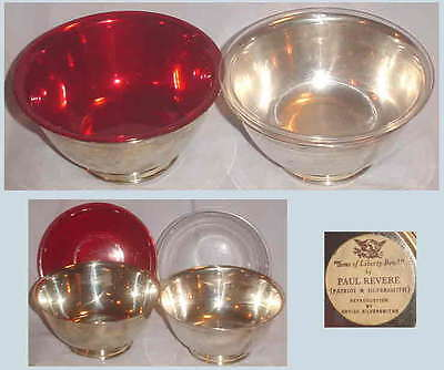 """2 PAUL REVERE REPRO SILVERPLATE 6"""" BOWL SONS of LIBERTY/ONEIDA/PLASTIC LINERS"""