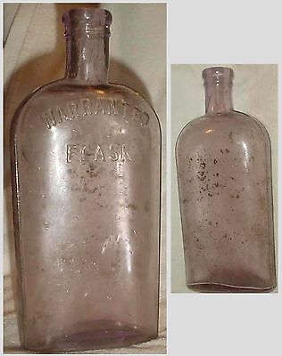 """Old 'warranted Flask' Wine Whiskey Bottle Purple Tint /no Chips/ 8"""""""