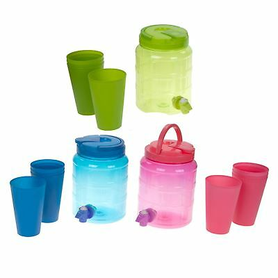 2L Plastic Drinks Dispenser with Cups - Picnic BBQ Party Punch Cocktails Wine