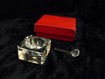 A delightful vintage crystal glass square cut salt with spoon in original box