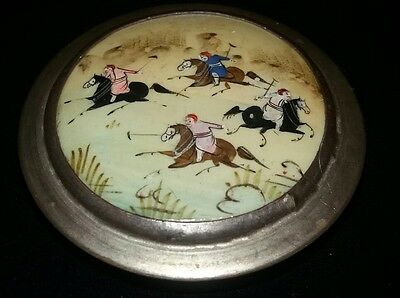 Lovely Very Old 'polo Scene' Handcrafted Snuff/trinket Box Asian/persian?