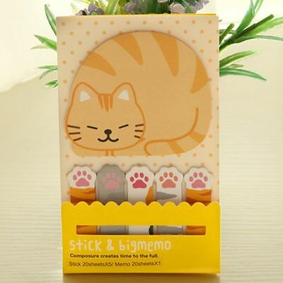 Cute Note Stick Post it & Big Memo Paper Pad Stationery - CAT