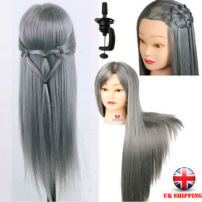 """28"""" Salon Grey Long Hair Mannequin Hairdressing Styling Training Head & Clamp UK"""