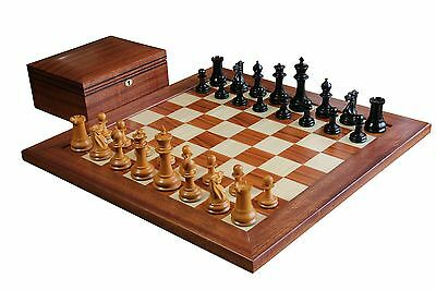 1851 Official Staunton Antiqued Chess Set & Mahogany Board & Box