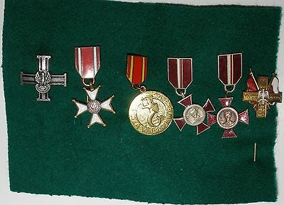 WW2 Polish 6 miniatures of orders Polonia Restituta; Medal Liberation of  Warsaw