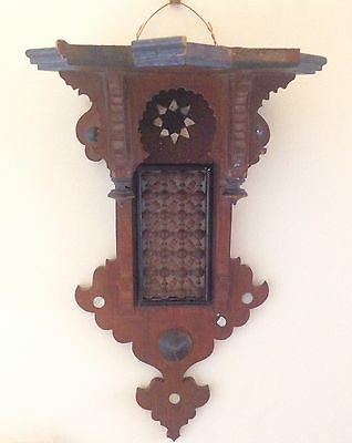 Dark Wooden Indian Wall Bracket For Ornament or Clock